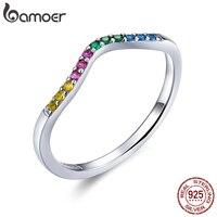 Bamoer 100% réel 925 en argent Sterling arc-en-ciel vague bagues pour les femmes coloré CZ pavé fiançailles bijoux de mariage SCR636