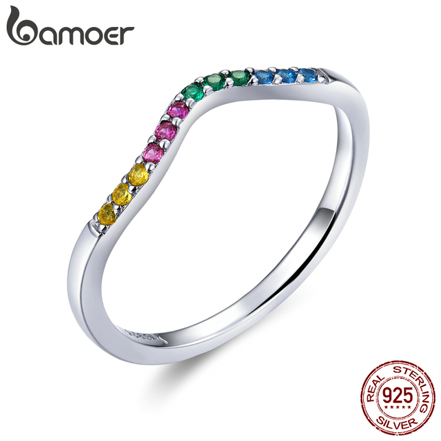 BAMOER 100% 925 Sterling Silver Water Droplet Clear CZ Finger Rings for Women Wedding Engagement Jewelry Girlfriend Gift PA7649 1