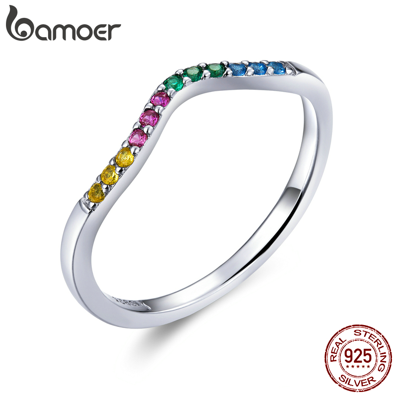 Bamoer 100% Real 925 Sterling Silver Rainbow Wave Finger Rings For Women Colorful CZ Paved Engagement Wedding Jewelry SCR636