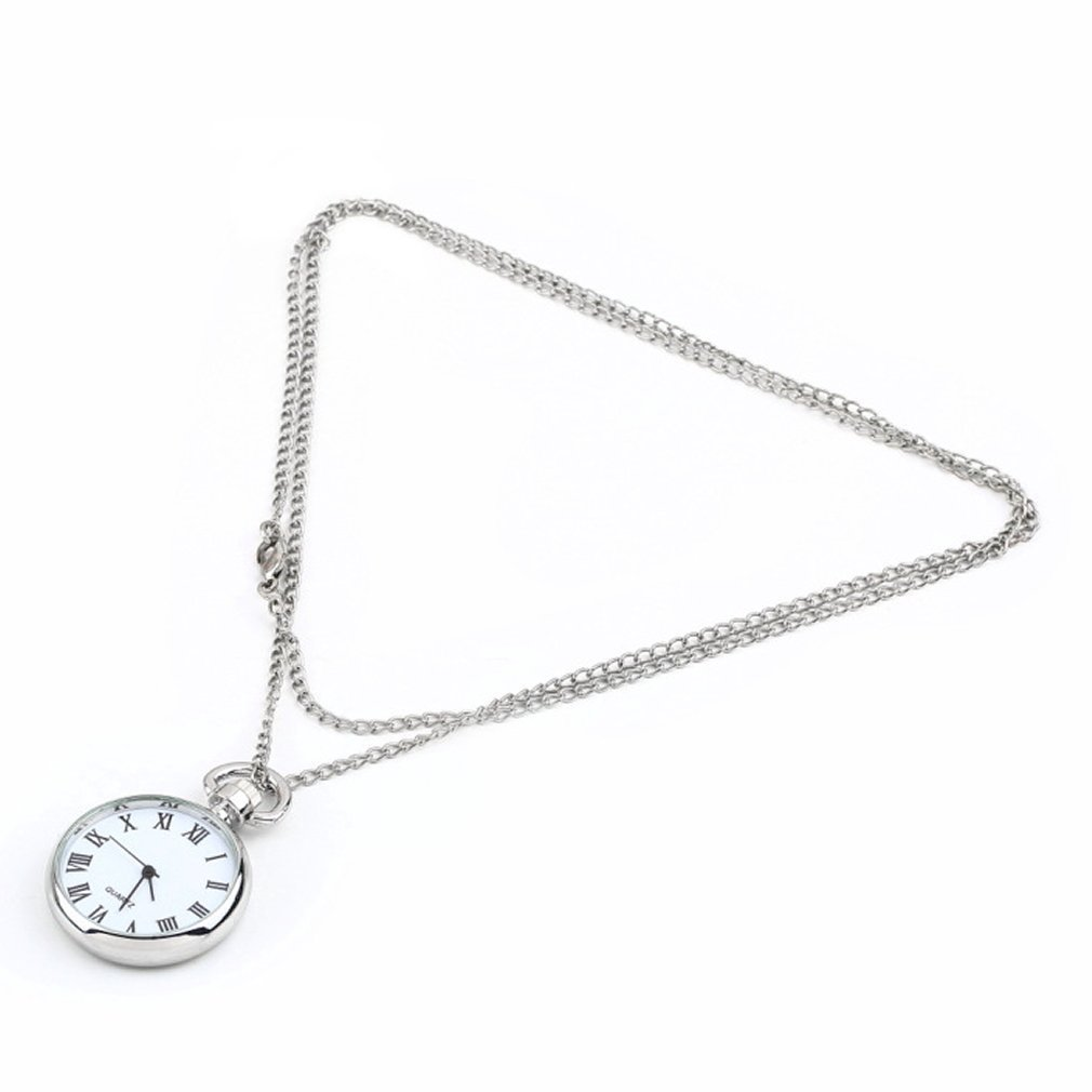 GENBOLI 1pcs Quartz Round Pocket Watch Dial Vintage Necklace Silver Chain Pendant Antique Style Personality Pretty Gift