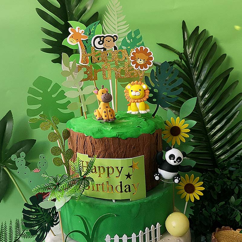 Awe Inspiring Jungle Series Cake Topper Tropical Felt Leaves Animal Cupcake Personalised Birthday Cards Sponlily Jamesorg