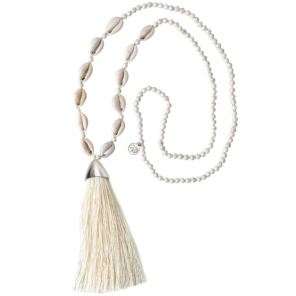 KELITCH Seashell Beaded Choker Necklaces Hawaii Beach Cowrie Charm Necklaces Handmade Boho Tassel Pendant Chain Ladies Jewelry