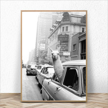 Llama In A New York City Taxi Canvas Painting Animal Posters and Prints Cuadros Wall Art Picture for Living Room Home Decoration