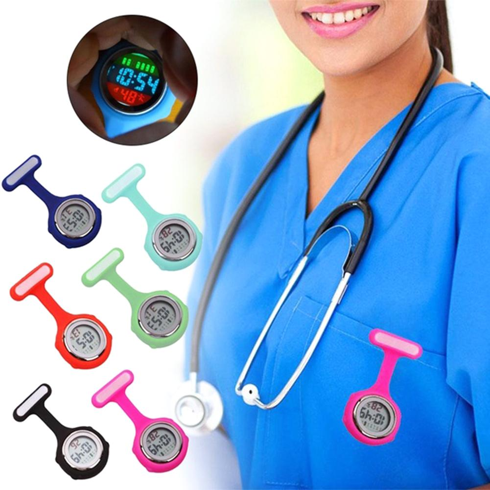 Broche pino bolsos relógio feminino display digital dial fob enfermeira broche pino pendurado relógio elétrico fob relógios silicone reloj