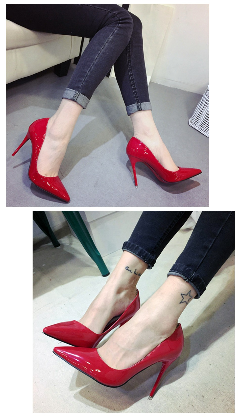 Ladies Shoes High Heels Patent Leather Classic Pumps Sexy Dress Prom Wedding Women PU Pointed Toe Beige Red Bottoms Shoes 8