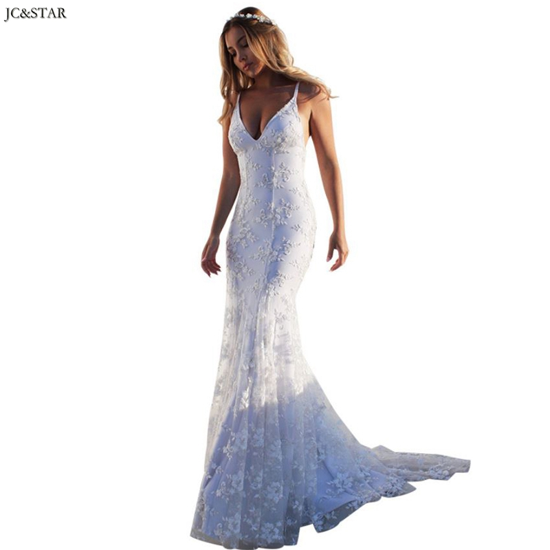 Plus Size Boho Wedding Dress New Lace Sexy V-neck Halter White Mermaid Bride Dress Trailing Vestido De Noiva Suknia Slubna