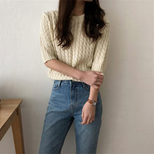 2019 New Vintage Women's Pullovers Sweater Twist Designer Half Sleeve Simple Solid Knitted Tops Fashion Autumn Korea(China)