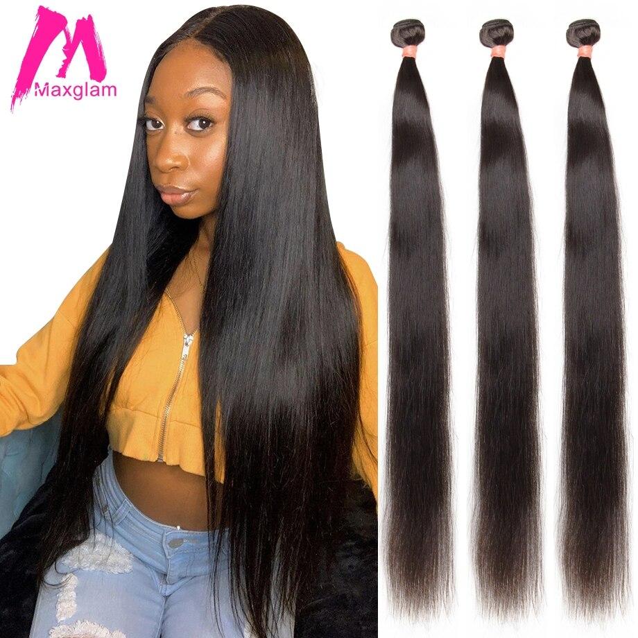 Maxglam droit 28 30 34 40 pouces paquets brésiliens naturel 100% Extension de tissage de cheveux humains vierge Remy 1 3 4 paquets pour les femmes