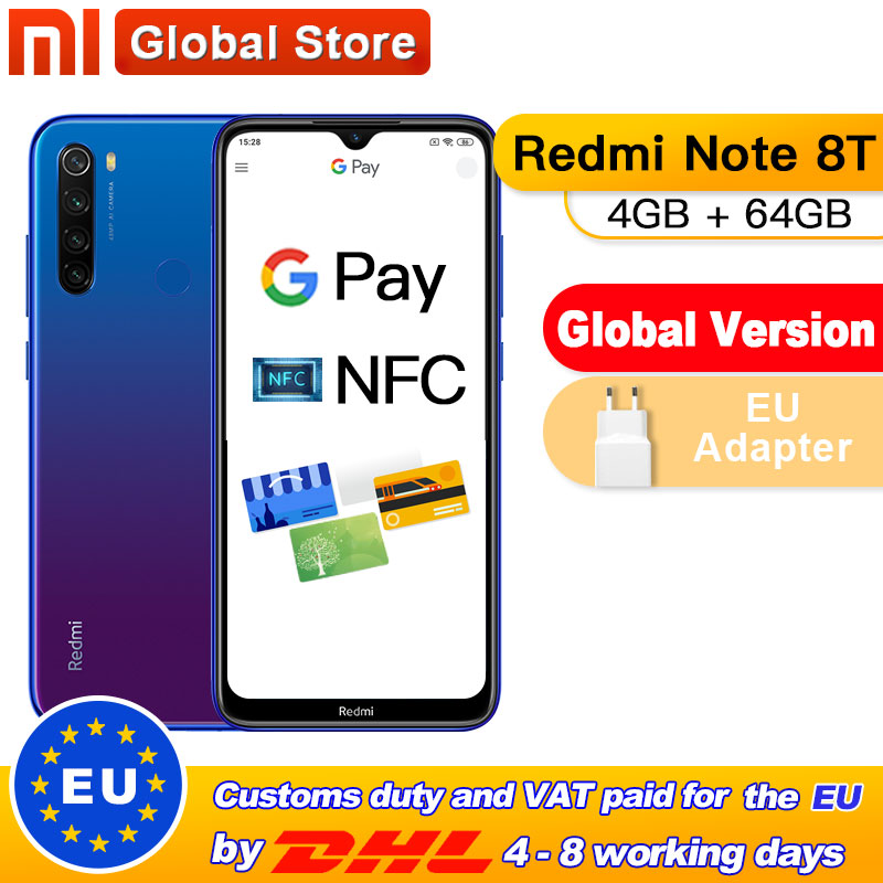In Stock! Global Version Xiaomi Redmi Note 8T 4GB 64GB NFC Smartphone 48MP Quad Rear Camera Snapdragon 665 Octa Core 4000mAh