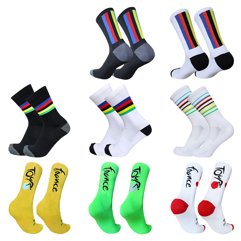 Cycling Socks Colorful Stripes Sports Breathable Compression Men Women Bike Socks Calcetines Ciclismo