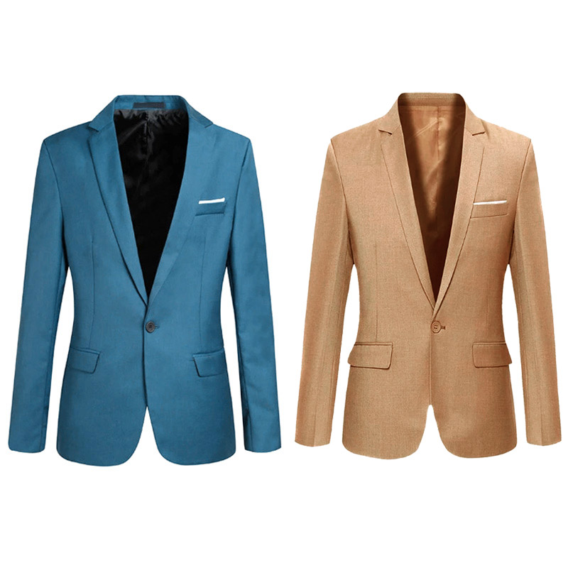 New Spring Autumn Men Blazer Long Sleeve Solid Color Slim Casual Thin Suit Jacket Plus Size SCI88