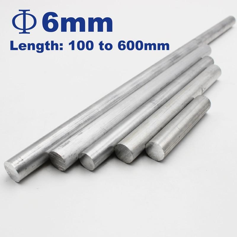 6mm Diameter Aluminum Round Bar/Rod Length 100mm To 600mm