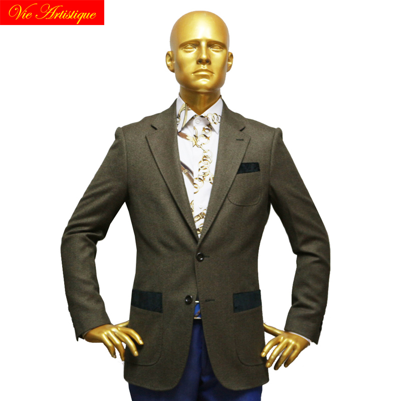 Custom Tailor Made Men's Bespoke Suits Business Formal Wedding Ware 1 Pieces Jacket Coat Army Green Plain Fine Heavy Tweed Wool