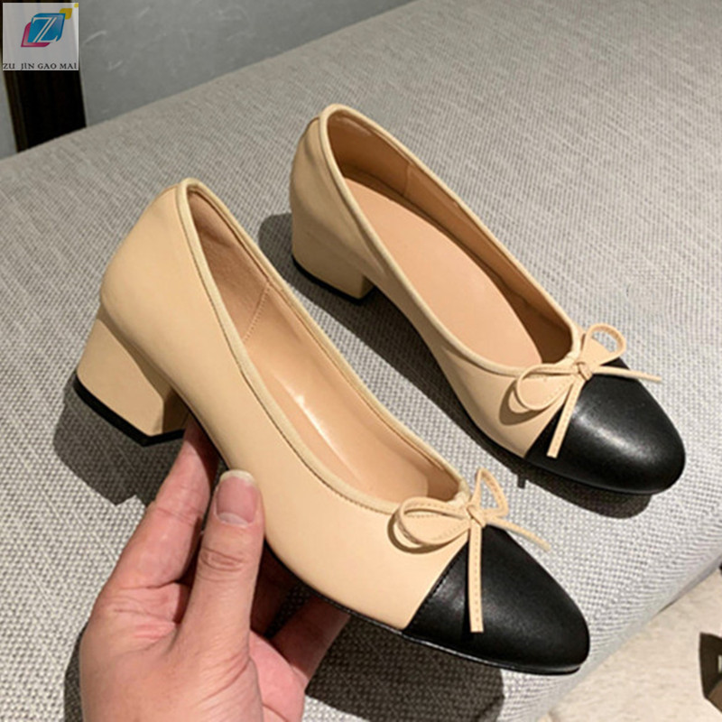 Square Heels Shoes Woman Pump 2020New Genuine Leather Two Tone Stitching Round Toe Bow Work Shoe Fashion Party Women Shoes Pumps