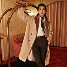 Double Breasted Woolen Coat Winter Warm Camel Coats High Quality Women Long Wool Luxury Overcoat Chic Ladies Alpaca Topcoat