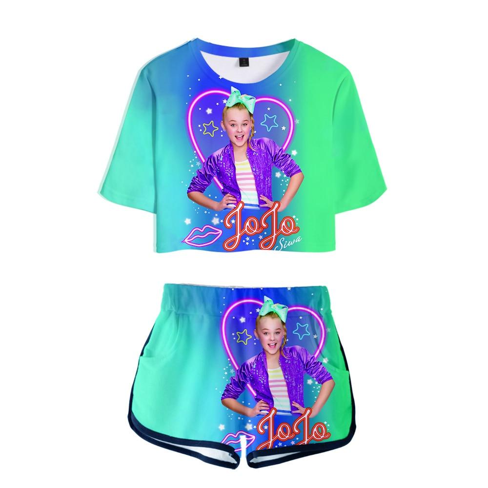 Hot Pretty JOJO SIWA 3D Exposed Navel T-shirt+Shorts Women's Two-piece Sets Fashion Summer JOJO SIWA 3D Girls Two-piece Suits