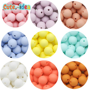 Cute-idea 10pcs Silicone Round Beads 9mm Food Grade BPA Free Baby Teether DIY Baby Teething Pacifier Necklace Chewable Toys gift
