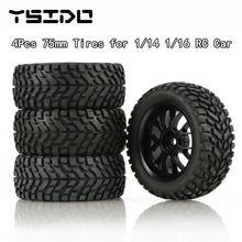 4 pces 75mm 1/14 1/16 escala fora da estrada buggy pneus roda 12mm hex cubos com inserções de espuma para wltoys 144001 rc carro