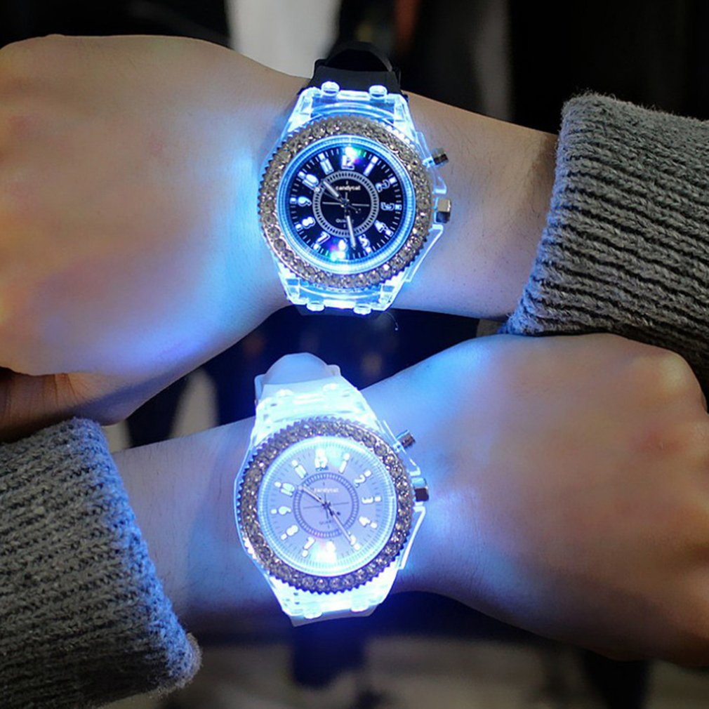 Sports Women Lady Girl Rubber Band Candy Wrist Watch Couple Jelly Rhinestone Led Night Light Quartz Watch Colorful Strap