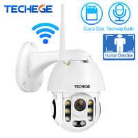 Techege HD 1080P Drahtlose Ip-kamera CCTV AI Menschlichen Erkennung Pan Tilt Intercom 2MP Sicherheit Kamera TF Lagerung Im Freien wasserdicht