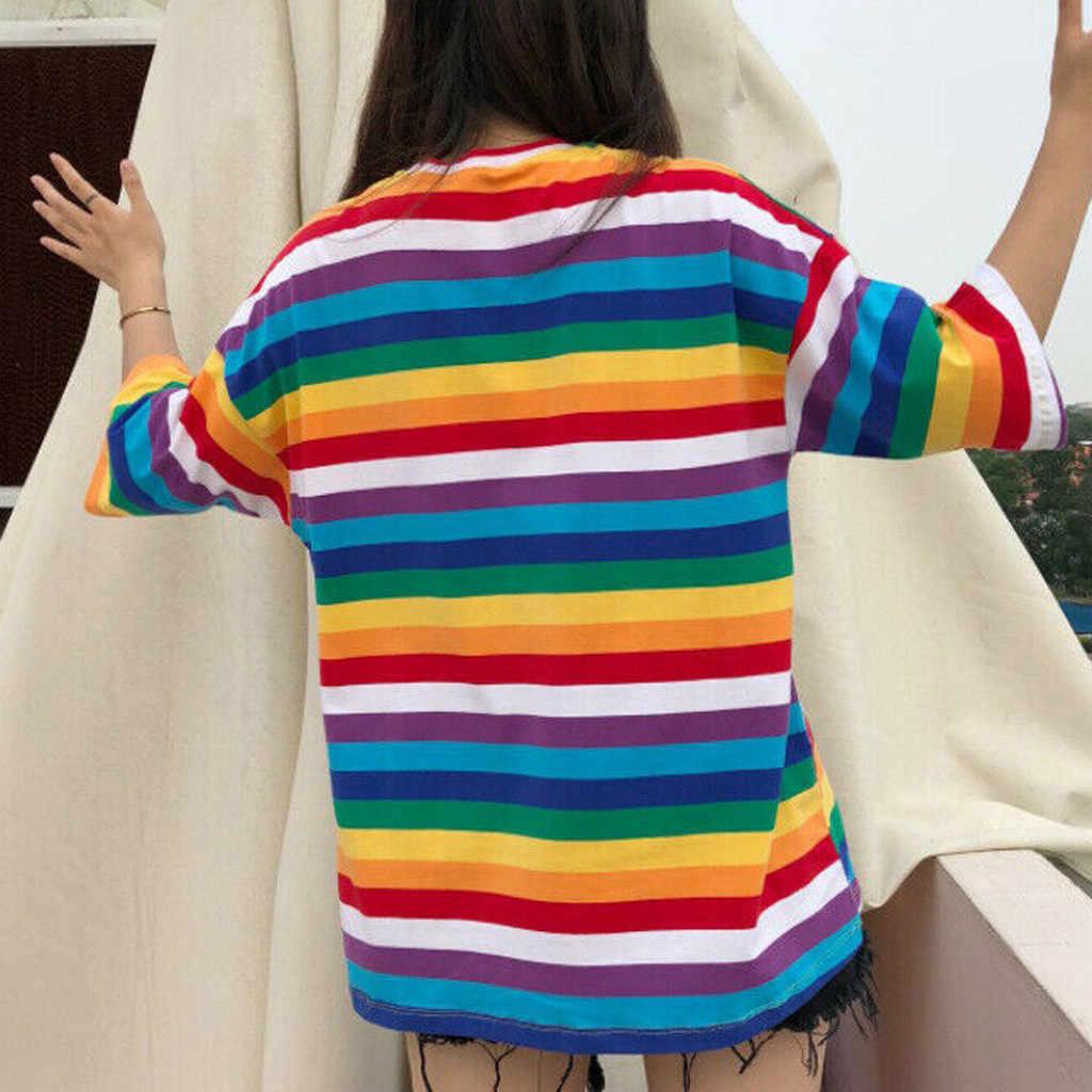 原宿 Tシャツ女性レインボーストライプトップスかわいい Tシャツ 2020 夏半袖韓国素敵な Tシャツ camiseta ropa mujer