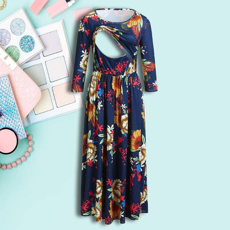 Casual Women Breastfeeding Dresses Ladies Patchwork Long Sleeve Print Cross Maternity Clothes Women Breathable Pullover