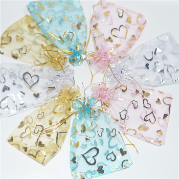 100pcs lot 7x9 10x12 11x16 13x18 15x20 17x23 20x30cm organza gifts bags small jewelry pouches candy coffee beans packaging bag 100pcs Heart Pattern Organza Bag 7x9 10x12 11x16 13x18 cm Storage Bag Christmas Wedding Jewelry Packaging Gift Pouches Bags