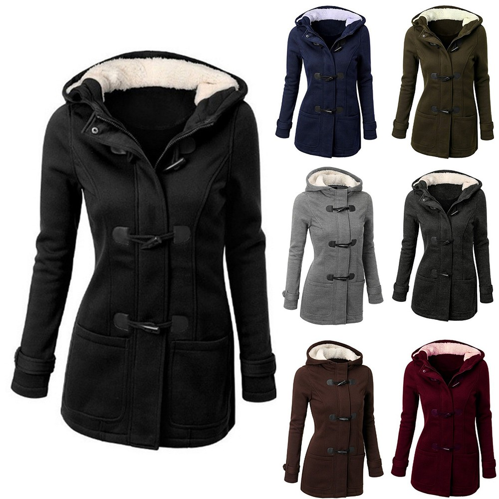 Large Size Women's Jacket Autumn Casual thin Coats Jackets women Hooded Outwear Mixed Cotton Horn leather buckle Jacket image