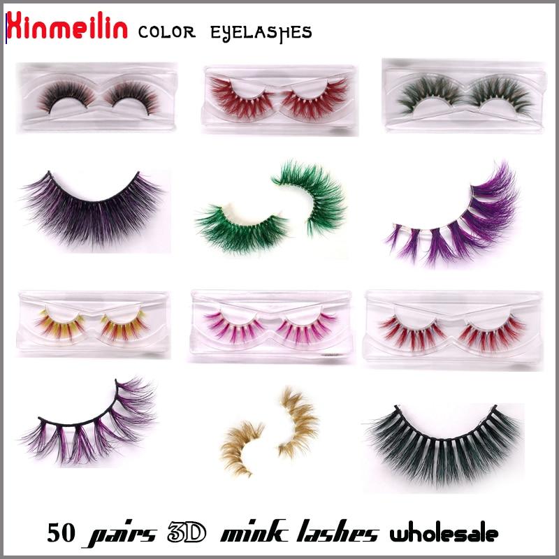 50 Pairs Color 3D Mink Lashes Wholesale Natural Long Individual Thick Fluffy Makeup Colorful Eyelashes Lash Extension Supplies