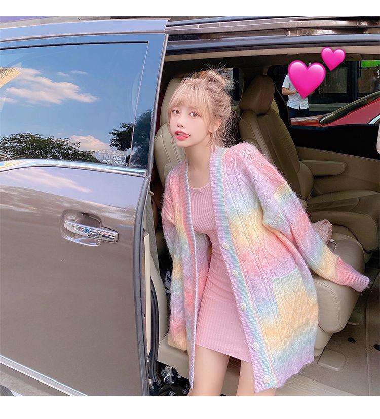 Rainbow Knitted Cardigan Women Autumn winter Sweet Kawaii Sweater Coat Female Long Korean Button Down Cardigan Fall 2020 Women
