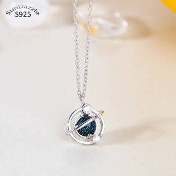 Genuine Real Pure Solid 925 Sterling Silver Pendant Necklaces Women Jewelry Round Ball Blue Crystal Female Chain Necklace