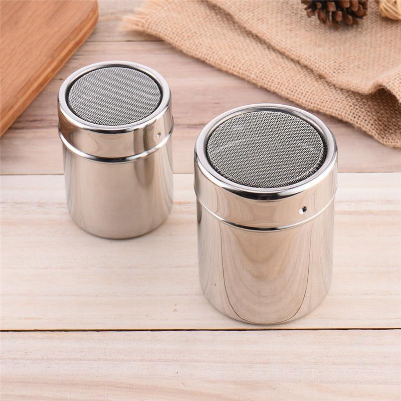 SEAAN New 1Pc Stainless Steel Sprinkle Cocoa Cinnamon Sugar Gauze Mesh Jar Seasoning Bottle Fancy Coffee Powder Duster