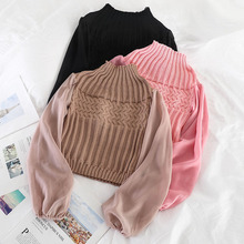 Mooirue Vintage Turtleneck Sweater Autumn Chiffon Patchwork Lantern Sleeve Solid Casual Streetwear Pullover Knitting Tops