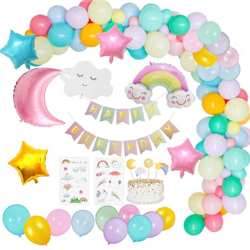 53pcs Set Sky Theme Birthday Party Decorations Kid Pastel Balloon Garland Arch Kit Sun Cloud Star Moon Birthday Decoration Girl Ballons Accessories Aliexpress