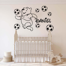 Custom Name Winnie The Pooh Soccer Wall Sticker Fashion Cute Cartoon Beer Decor Room Decoration Kids Personalize W765
