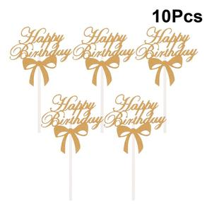 10 Pcs Cake Toppers Glitter Cake Toppers Happy Birthday Glitter Cake Decoration Happy Birthday Cake Topper Birthday Party Decor