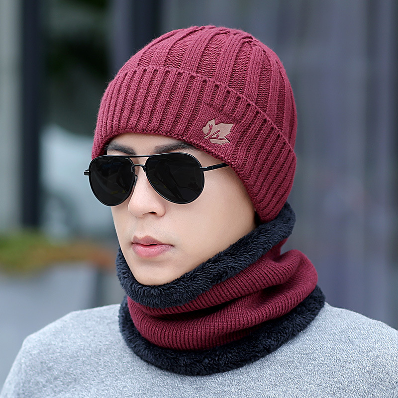 Kitted Winter Hat And Scarf Set Men Women Thicken Skullies Beains Hat Autumn Warm Hat Ring Scarf Female Hats Drop Shipping