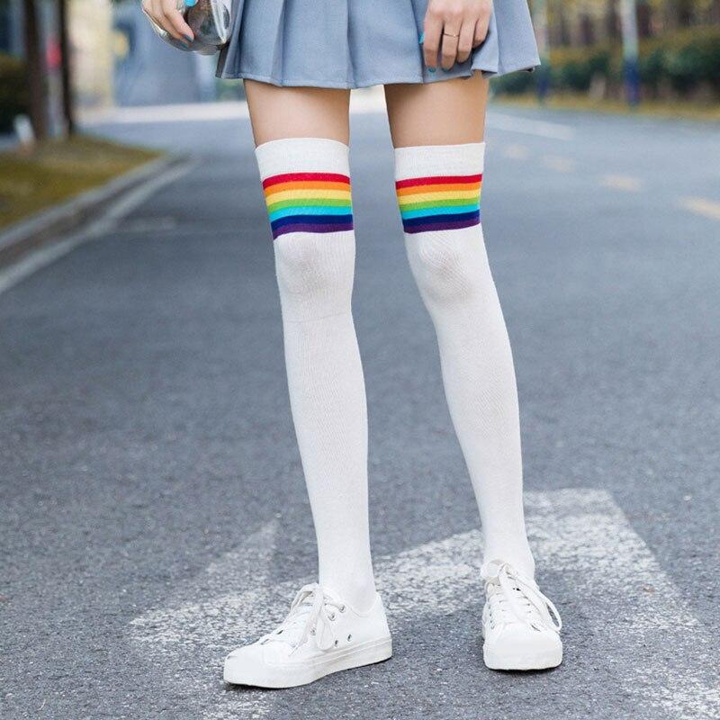 Rainbow Stripes Socks Sweet Thigh Socks Japanese Cute Girls Women Ladies Student Socks Thigh High Over The Knee Stocking
