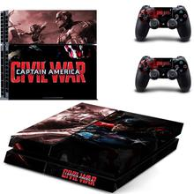 PS4 Skin Captain America:Civil War PS 4 Sticker Play station 4 Stickers Pegatinas For PlayStation 4 console and 2 controller