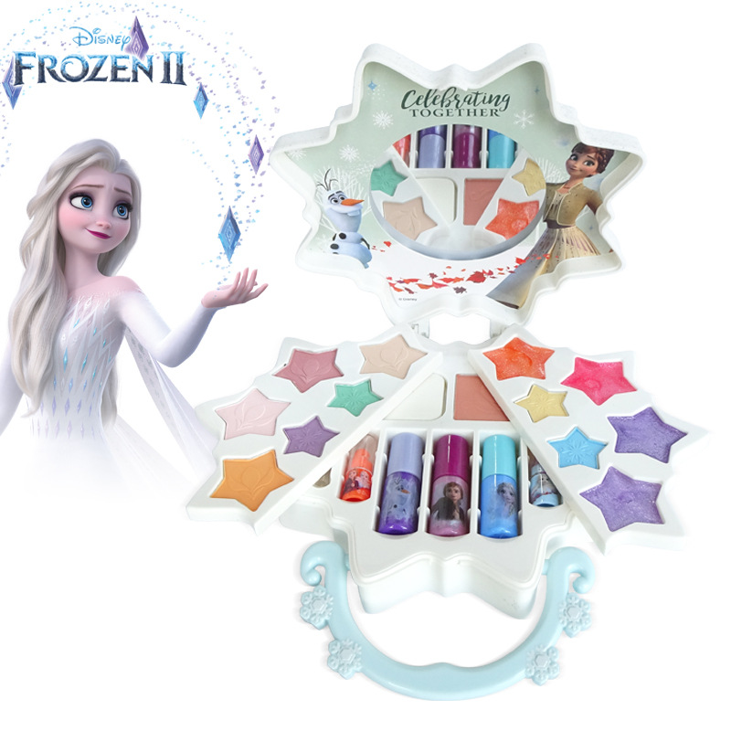 Disney new girls frozen 2 elsa  anna princess Suitcase snowflake Makeup set kids Beauty pretend play toy with Gift Box