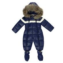 Winter Baby Boy body odzież futro naturalne marka niemowlę śnieg odzież z kapturem maluch jednoczęściowy kombinezon ubranka na prezent