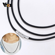 Vnox-colliers ras du cou avec chaîne en cuir, 2/3mm de large, pour hommes et femmes, accessoires de 16/18/20/22/24/26/28/30 pouces