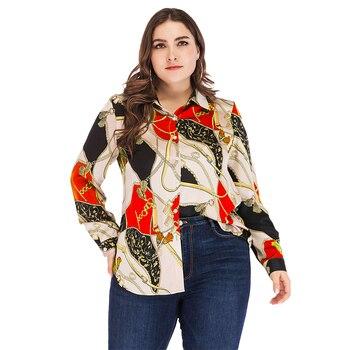 Women Plus Size Blouse Geometric Printed Blusas Fashion Vintage Tops Long Sleeve camisas mujer Autumn Streetwear 5xl D30