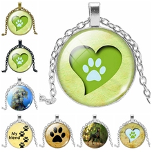 2019 New Fashion Pet Dog Footprints Time Glass Jewelry Necklace Birthday Gift Pendant