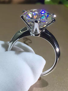 YANHUI Gold-Ring White Women Solitaire Round 18K Wedding with Certificate 18krgp-Stamp