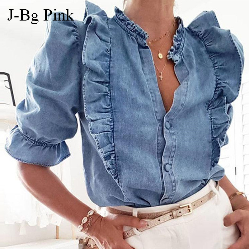 Autumn Winter Women Denim   Shirt   Loose Casual Solid Color Ruffles Puffed Sleeve   Blouse   Blue Elegant Female Lady   Blouse   Top T Shir