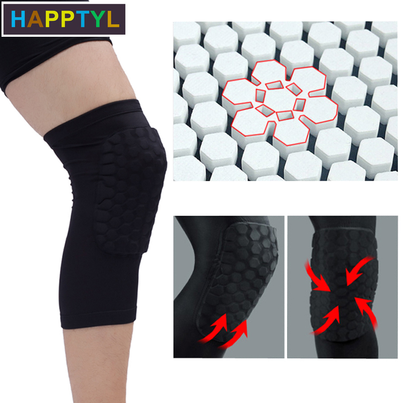 HAPPTYL Knee Support Brace Pads, Breathable Short Shockproof Honeycomb Knee Brace Padded Compression Leg Sleeve Protector Gear