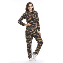 2019 Autumn and Winter Camouflage Suit New Womens Plus Velvet Hoodie Trousers Sports Casual Two-piece