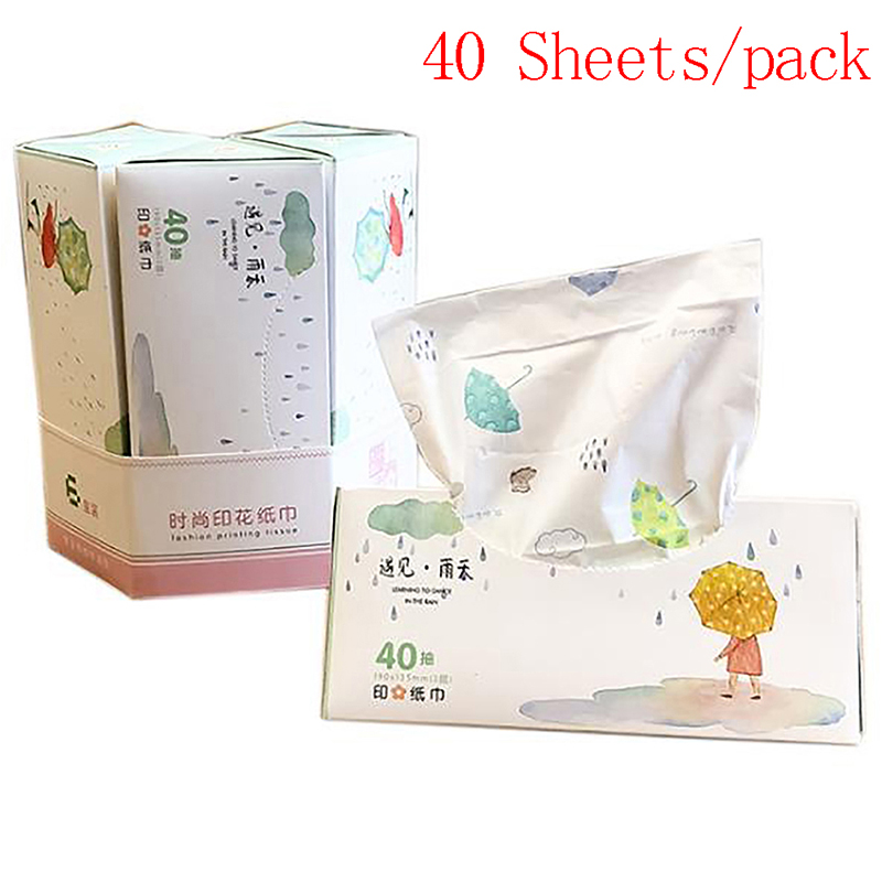 1 Bag Cartoon Printing Tissue Paper 3 Layers Fragrance-Free Disposable Napkins Paper Handkerchiefs For Home Wedding Restaurant