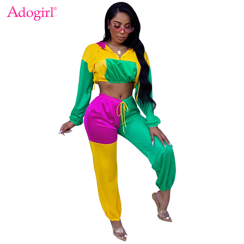 Adogirl Color Patchwork Women Tracksuit Casual Two Piece Set Hooded Sweatshirt Crop Top + Pants Female Fashion Outfits